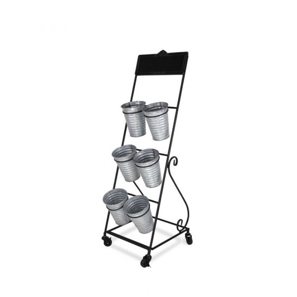 Metal stand with 6 metal flower vases incorporated