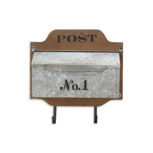 Galvanized psot box sat on a wooden back wtih 2 hooks