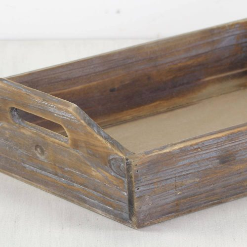 wooden tray with a dark rustic wood look