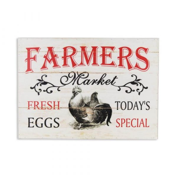 """whitewashed wooden sign with the words """"farmers market, Fresh eggs, todays special printed on in red and black"""