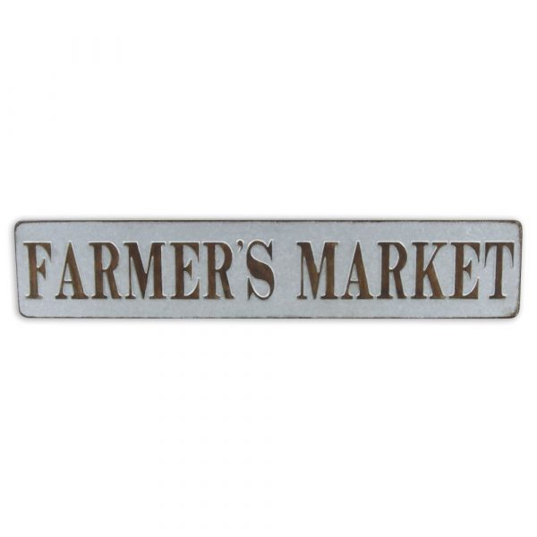 """Galvanised rectangle sign with wording """"Farmer's Market"""" on"""