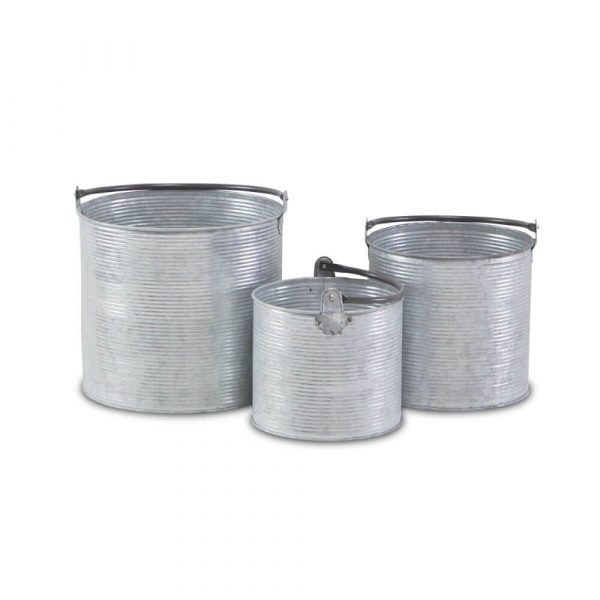 3 metal ribbed effect buckets with metal handles