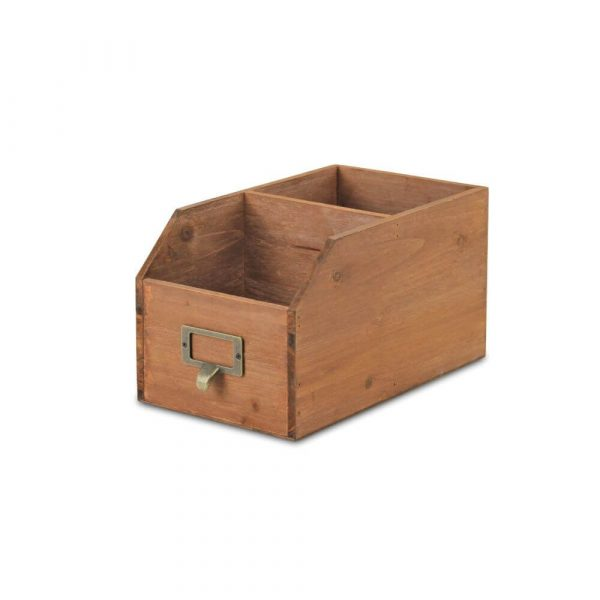 Wooden storage unit with metal label holder at the front.