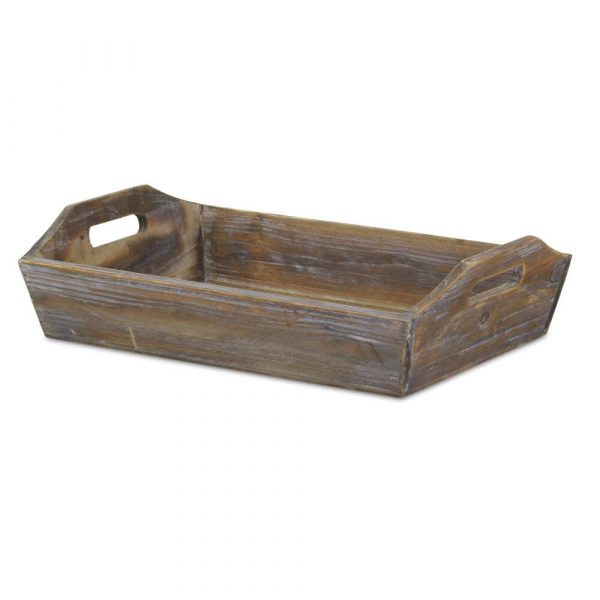 Rectangle wooden tray with higher sides at the end to incorporate hangles