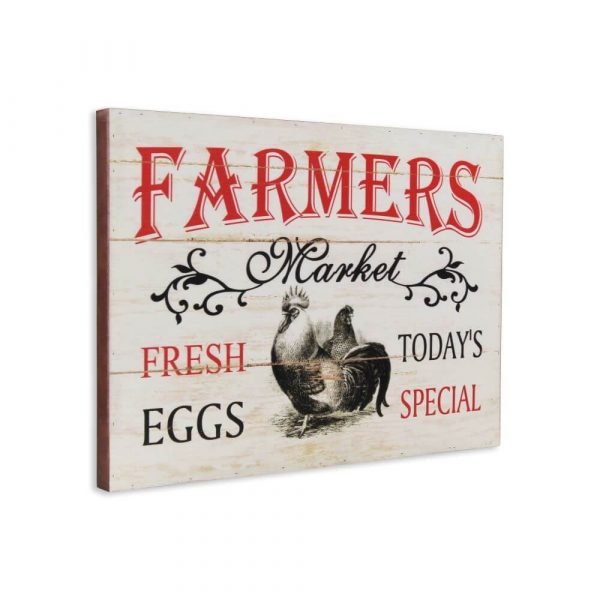 Wooden sign with a distressed whitewashed background with a picture of chickens on.
