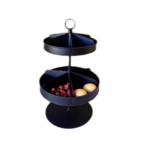 two tie stand. Black colour. Each tier in compartments