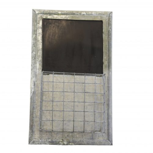 Metal frame. Top half displays a blackboard. Bottow half has a caged compartment