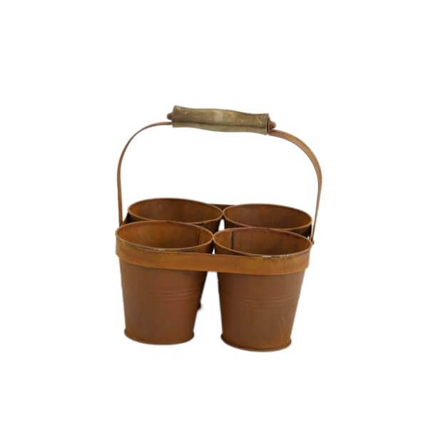 4 rusted plantpots wrapped in a rusted metal band with a handle to carry them
