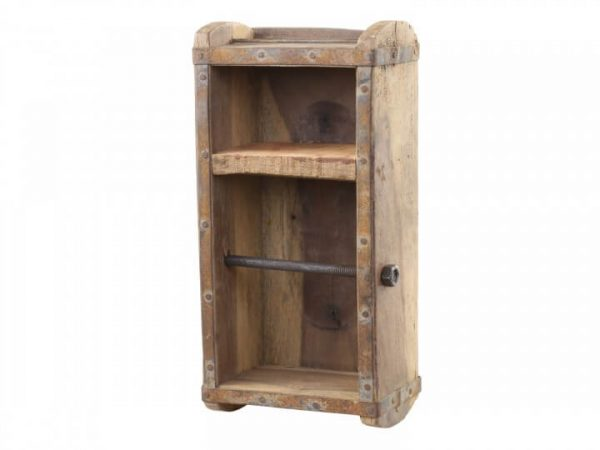 Rustic wood open box with a metal rod through to hold toilet roll