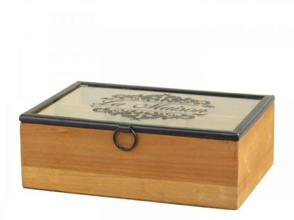 Wooden box with a black framed glass lid with La Maison written across