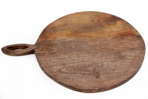 Large round wooden chopping board