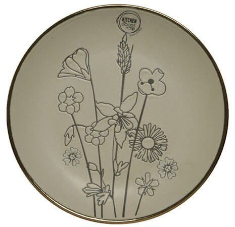 Small round plate with flowers imprinted on
