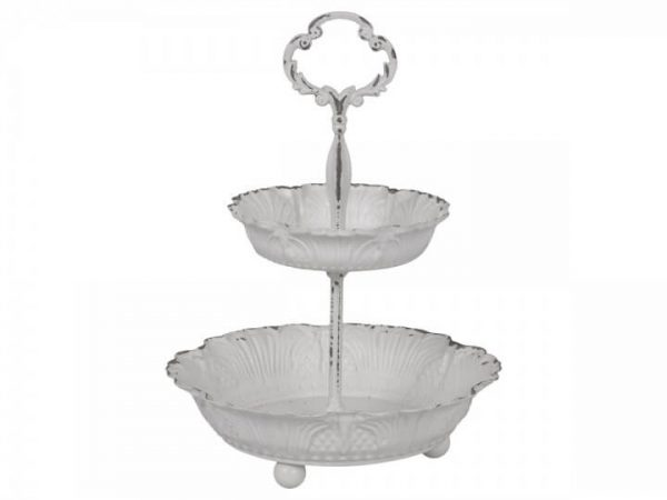 Larger tier on bottom. Smaller tier on top. Ornate handle at top to carry