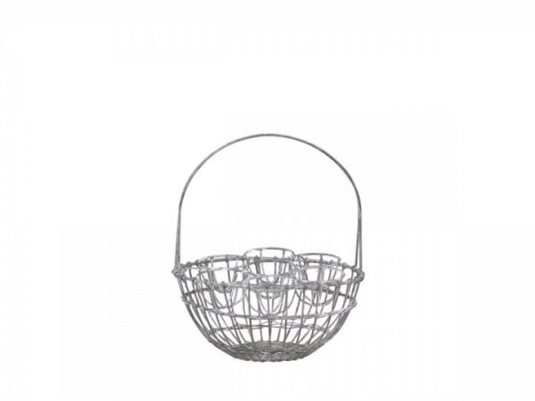 Metal wire effect round basket with handle over the top to store eggs