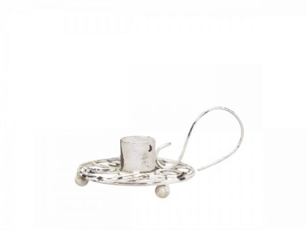 Distressed white metal round candle base with a large handle and a holder for one candle. Base is on small round feet