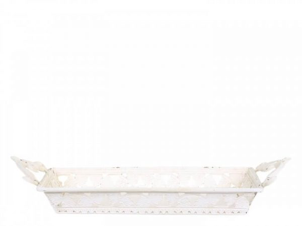 White metal square tray with cut out design around the edges and fancy cut out handles