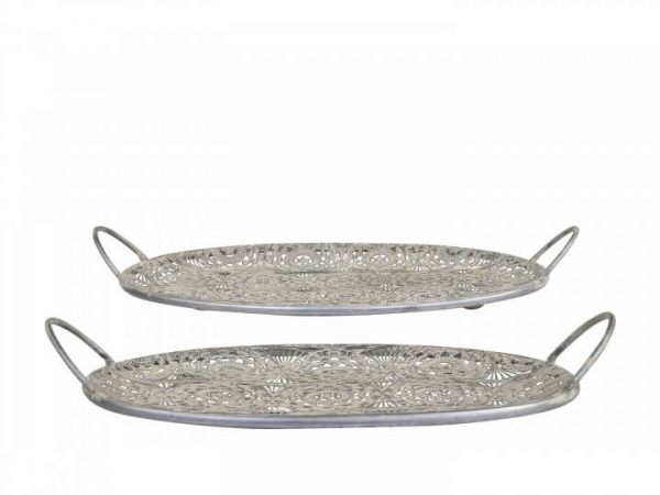 Two flat trays with a detailed flower cut out pattern with handles