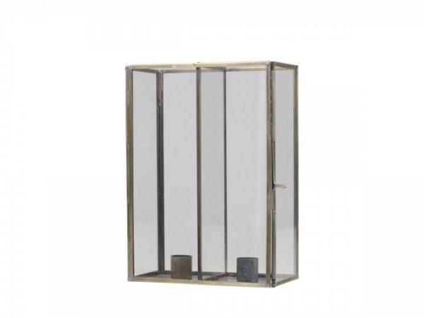 Tall horizonal metal casement with 2 candle holders set within