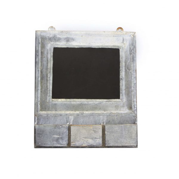 Zinc framed blackboard with 3 zinc compartments along the bottom