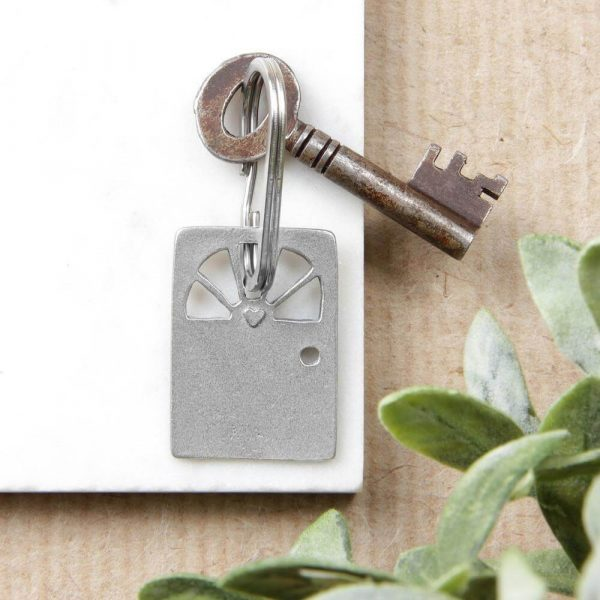 Rectangle shaped keyring in the shape of a door with a key attached