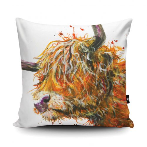 Cushion with a picture of a shaggy cows head on it. Cows eyes are covered with its curly hair and it has big horns. Colours are mixes of browns and oranges.