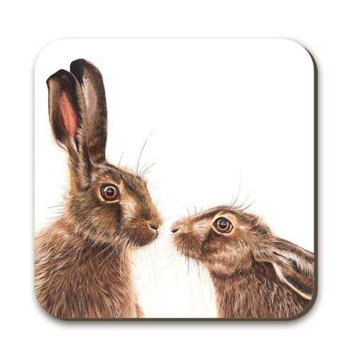 two hares facing each other on a coaster. One is upright with its ears pricked up and the other has its ears laid back.