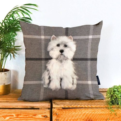 Grey tartan square cushion with a westie printed on it