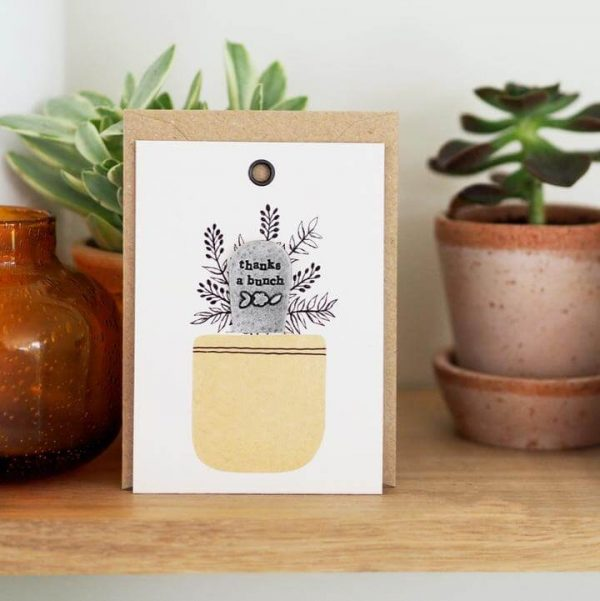 Card displaying plant marker with envelope