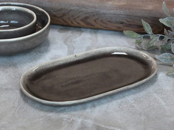 Oval saucers/tray from the stoneware grey/blue range