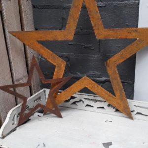 Rusty metal cut out stars displayed